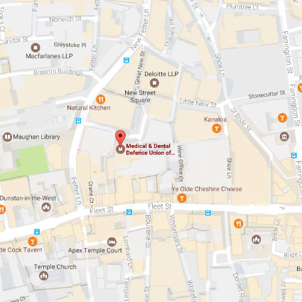 Map of the area surrounding the MDDUS office in London